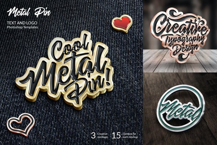 Thumbnail for Metal Pin – Text and Logo Mockups