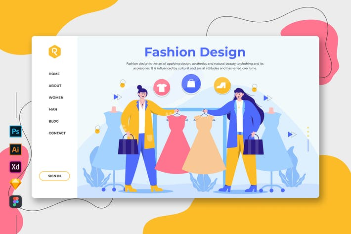 Thumbnail for Fashion Design - Web & Mobile Landing Page
