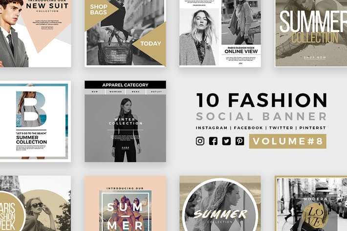 Thumbnail for Fashion Social Media Banners - Kit 08