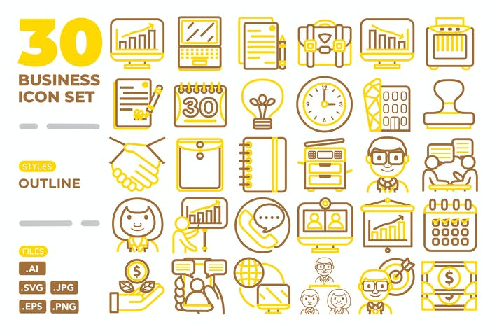 Thumbnail for Business Icon Set (Outline)