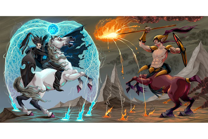 Cover Image For Fighting Scene Between Dark Elf and Centaur