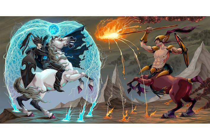 Thumbnail for Scène de combat entre Elfe noir et Centaure
