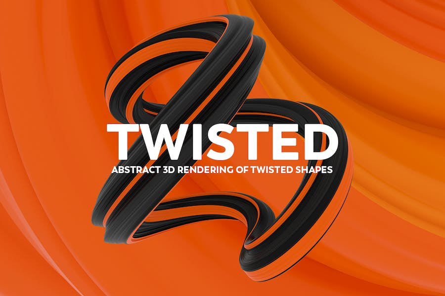 Abstract 3D rendering of Twisted Shapes