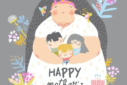 Linda madre sosteniendo a sus hijos en flores. Mothe