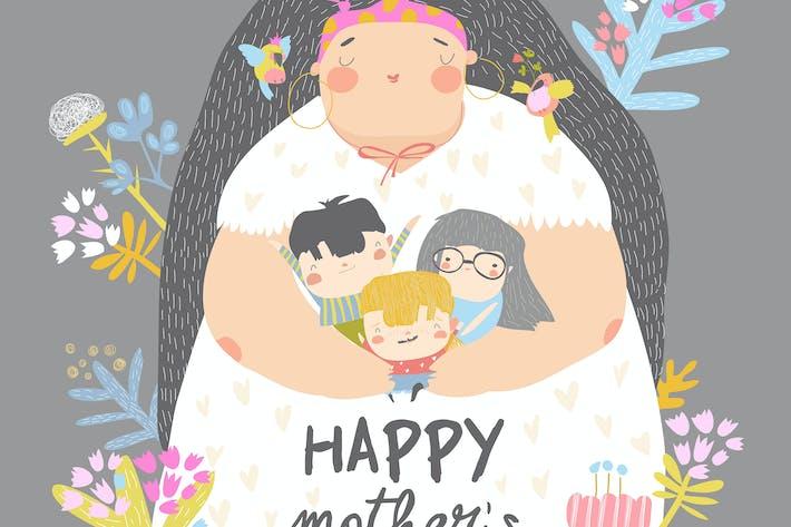 Thumbnail for Симпатичная мать держит своих детей в цветах. Мот