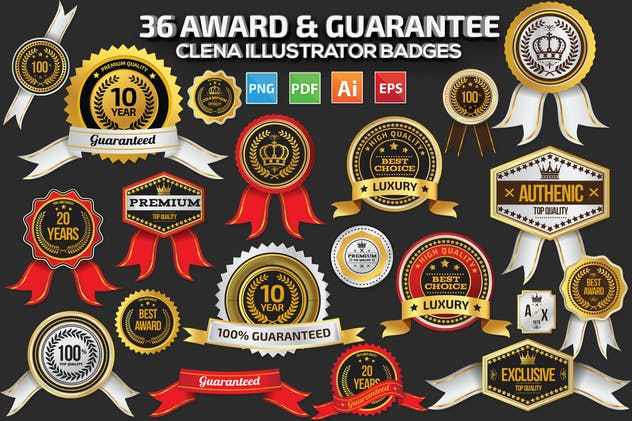 36 Award Warranty Guarantee Badges