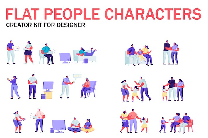 Thumbnail for Flat People Character Creator Kit