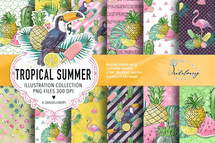 Thumbnail for Tropical summer digital paper pack
