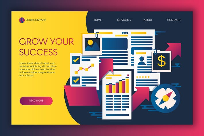 Thumbnail for Infografiken von Business Success Landing Vorlage