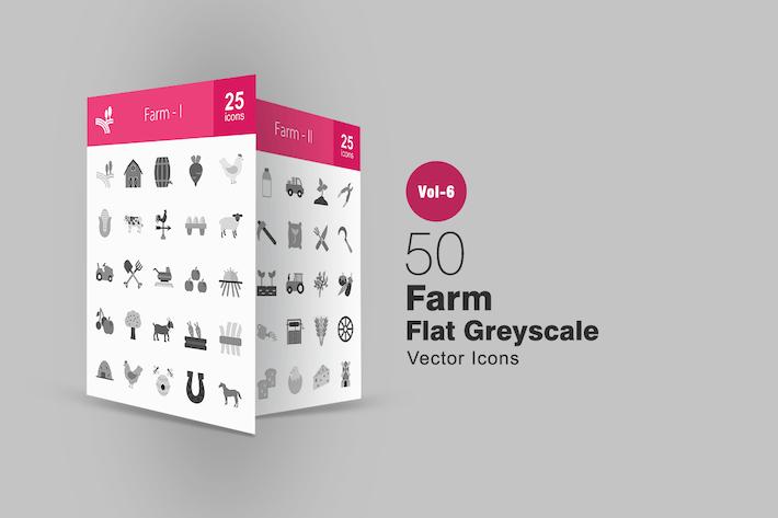 Thumbnail for 50 Farm Flat Greyscale Icons