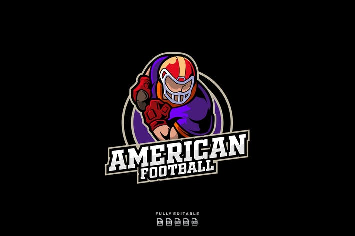 Thumbnail for American Football Player Sports Logo