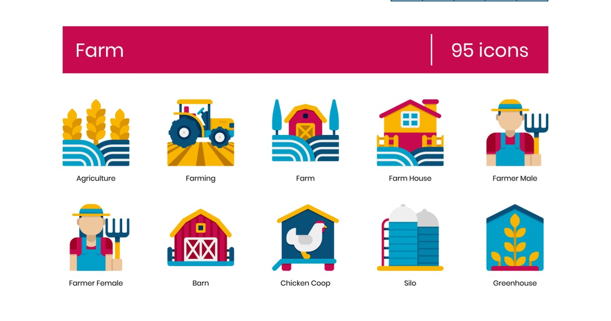 Download 95 Farm Icons - Dualine Flat Series by Krafted