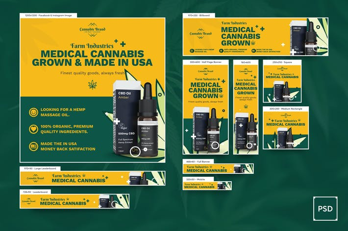 Thumbnail for Cannabis Hemp Oil Banners Ad PSD Template