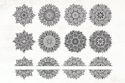 Sunflower Mandala - Split Monogram