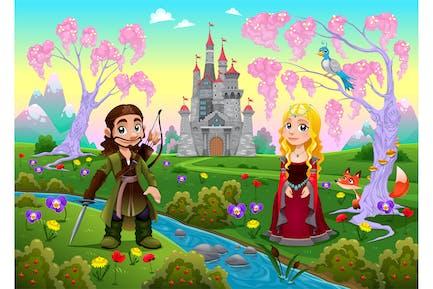Mittelalterliches Paar in Ein Landschaft mit Schloss