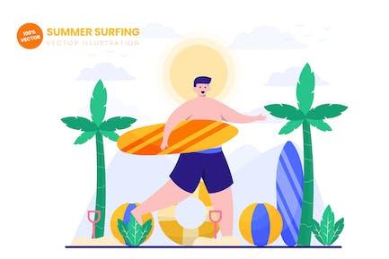 Summer Surfing Flat Vector Illustration