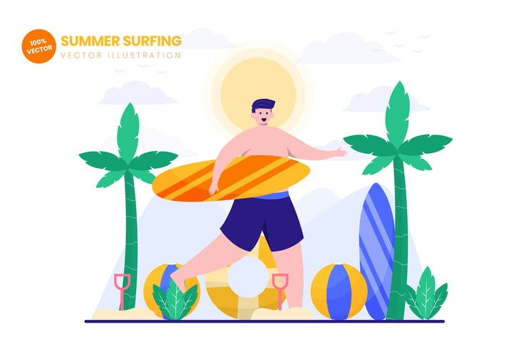 Thumbnail for Summer Surfing Flat Vector Illustration