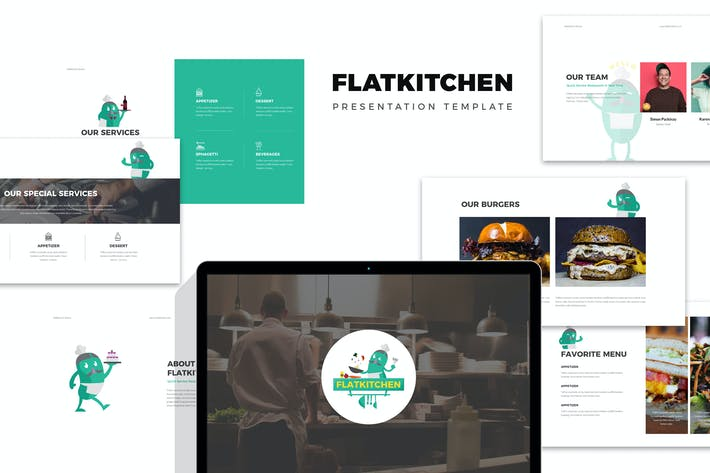 Thumbnail for Flatkitchen : Food and Restaurant Powerpoint