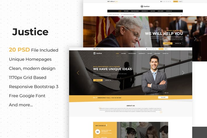Thumbnail for Justice - Multipurpose Business PSD Template