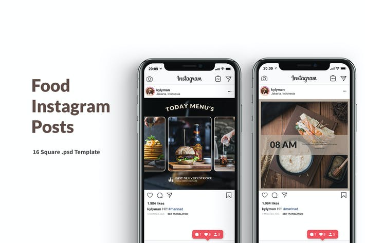 Thumbnail for Food Instagram Posts Template