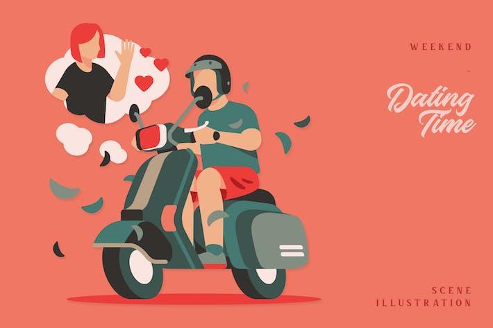 Wochenende - Dating Zeitszene Illustration