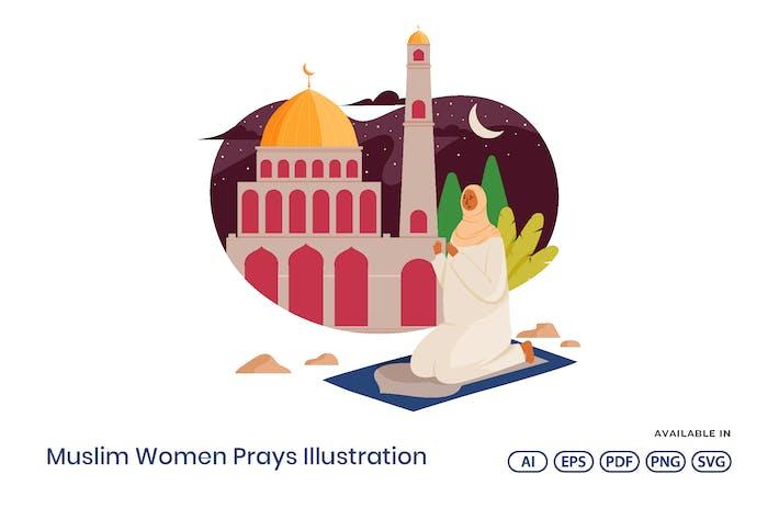 Muslim Women Prays Illustration