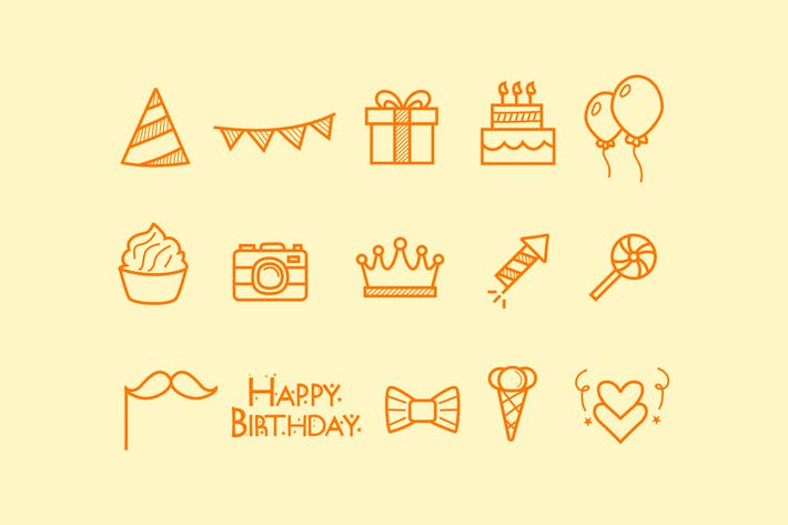 Thumbnail for 15 Birthday Doodle Icons