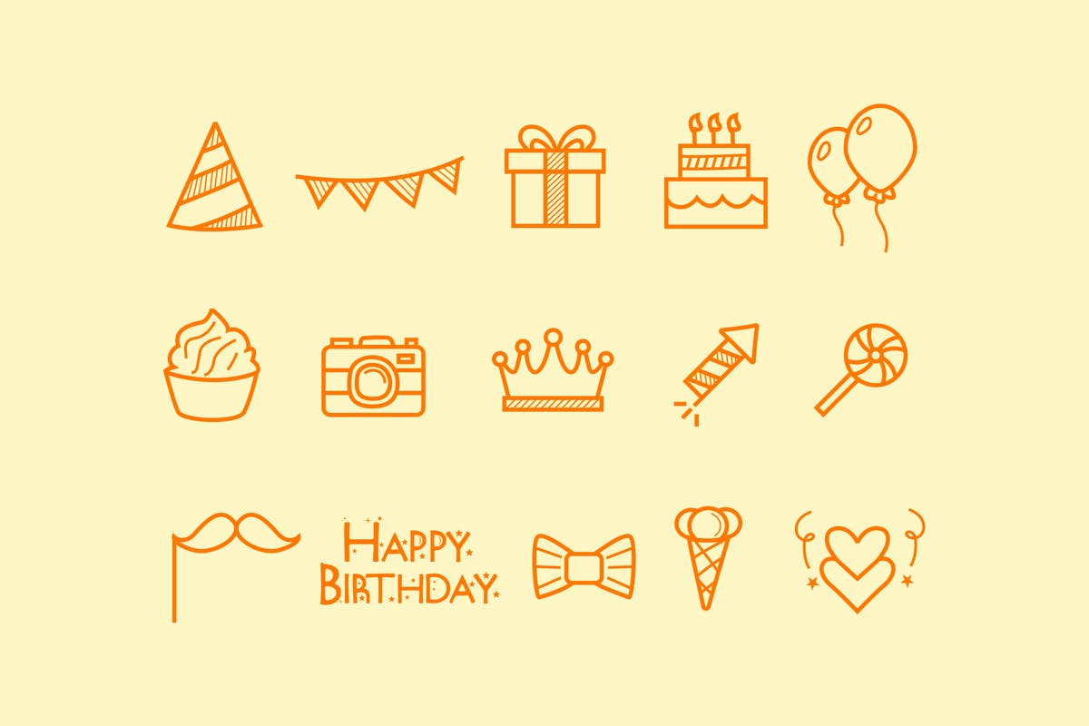 Download 15 Birthday Doodle Icons by creativevip by Unknow