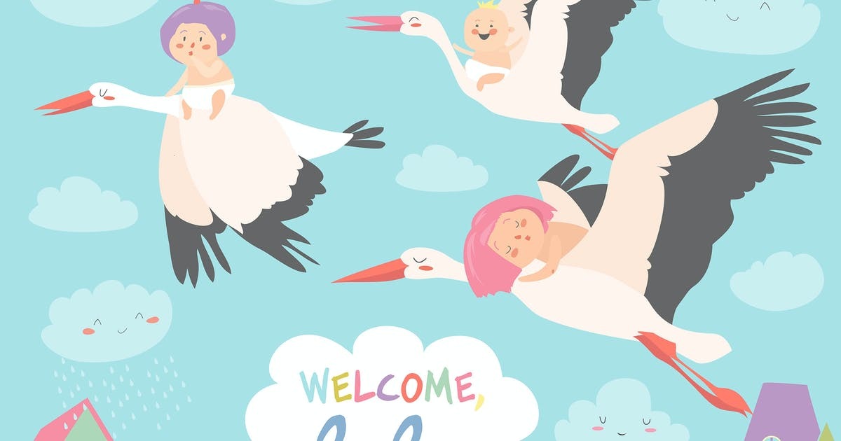 Storks is flying in the sky with babies by masastarus