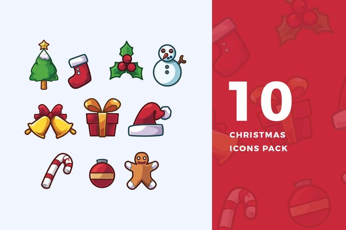 Thumbnail for 10 Chirstmas Icons Pack