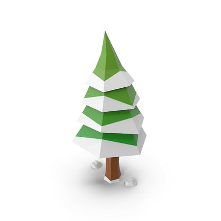 Niedriger Poly-Baum Winter