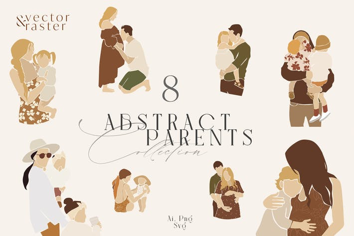 Thumbnail for Abstract Family Clipart Set