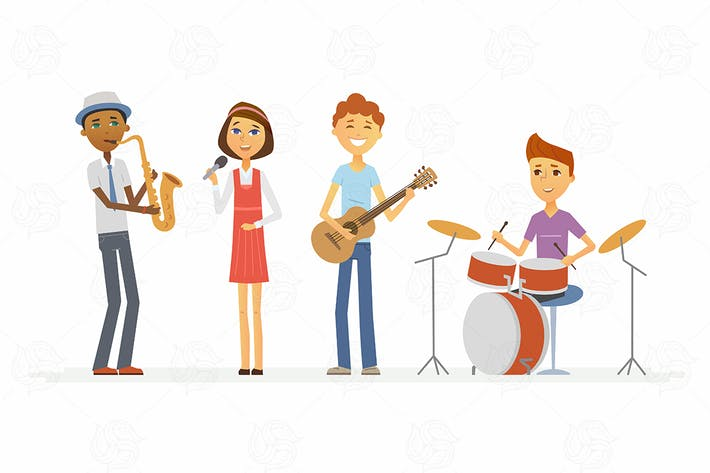 Thumbnail for School music band - vector illustration
