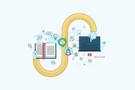 Concepto de línea plana para e-Learning