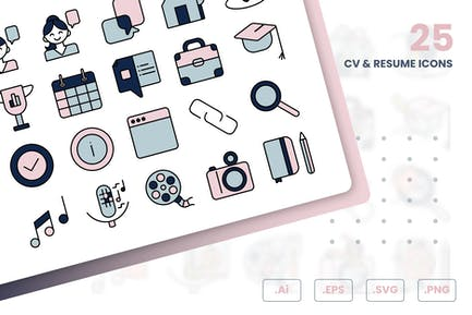 CV And Resume Icons Set