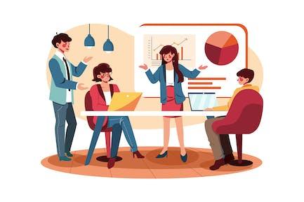 Mujeres de negocios presentando nuevos proyectos a los clientes