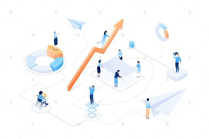 Thumbnail for Business growth - colorful isometric illustration