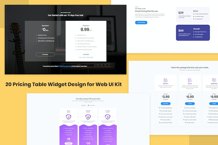 Thumbnail for 20 Pricing Table Widget Design for Web-UI Kit