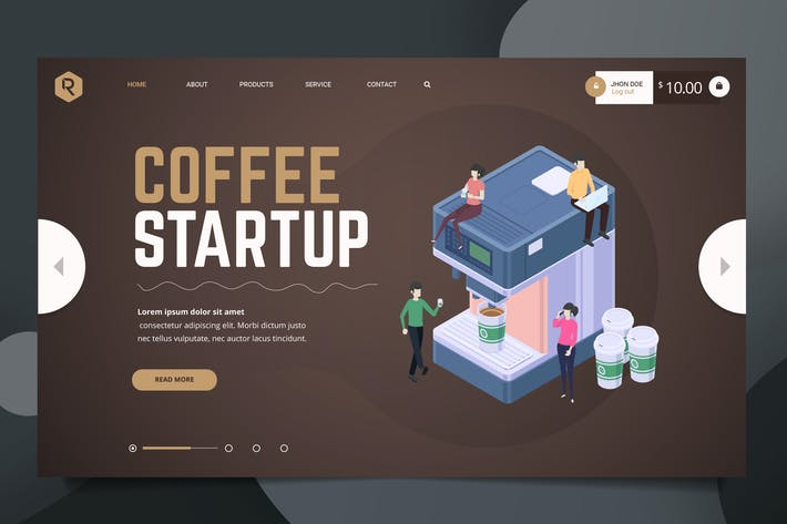 Thumbnail for Coffee Web Header PSD & Vector Template