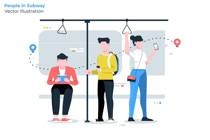 Thumbnail for People in Subway - Vector Illustration