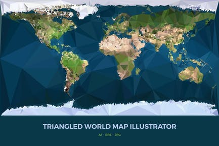 Triangled World Map Illustrator