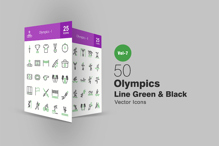 Thumbnail for 50 Olympics Green & Black Line Icons