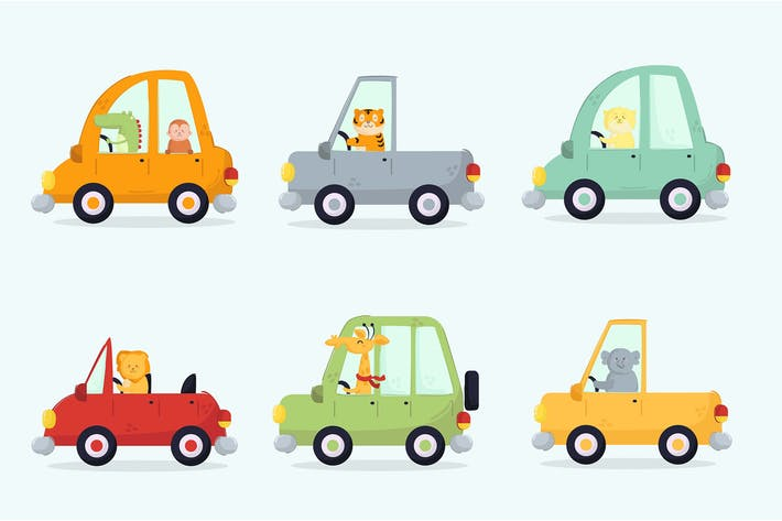 Thumbnail for Cars with Animal Driver Cartoon Transportation