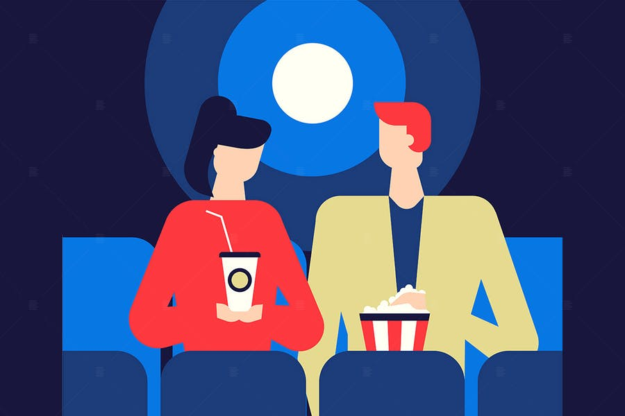 Movie Date - flat design style illustration