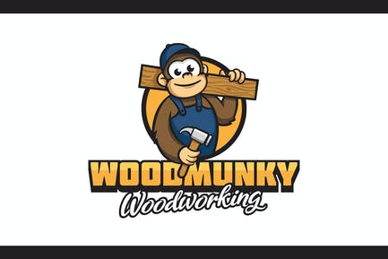Cartoon Carpenter Monkey With Wood Mascot Logo