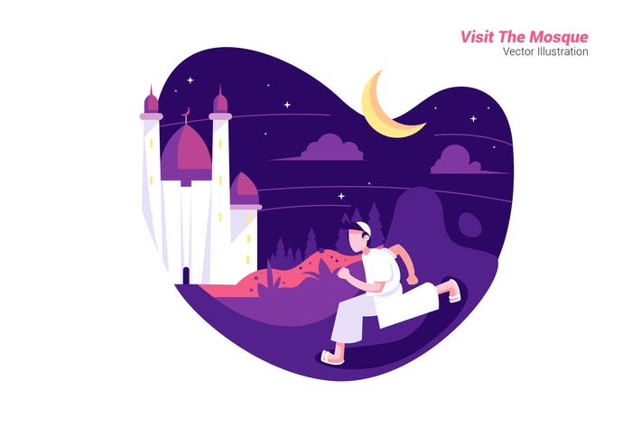Visit The Mosque - Vector Illustration