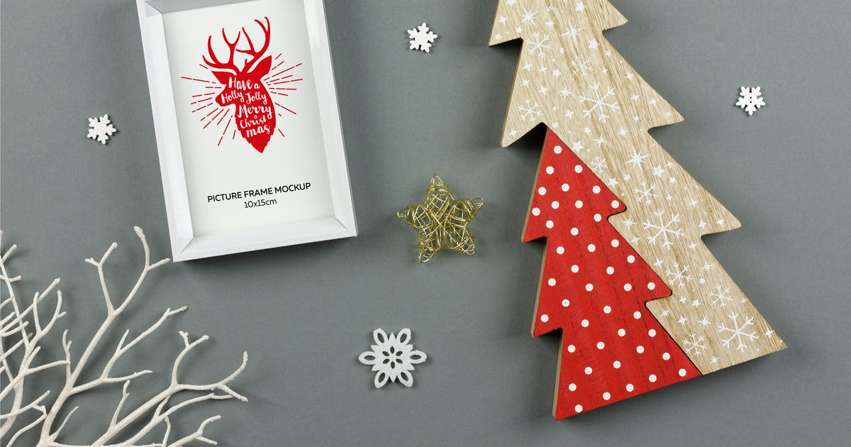 Download Christmas White Picture Frame Mockup by Digital_infusion