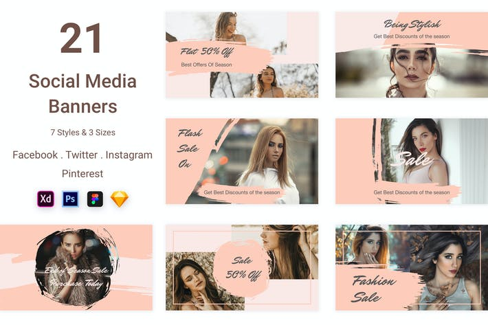 Cover Image For 21 Social Media Banners Kit (Vol. 5)