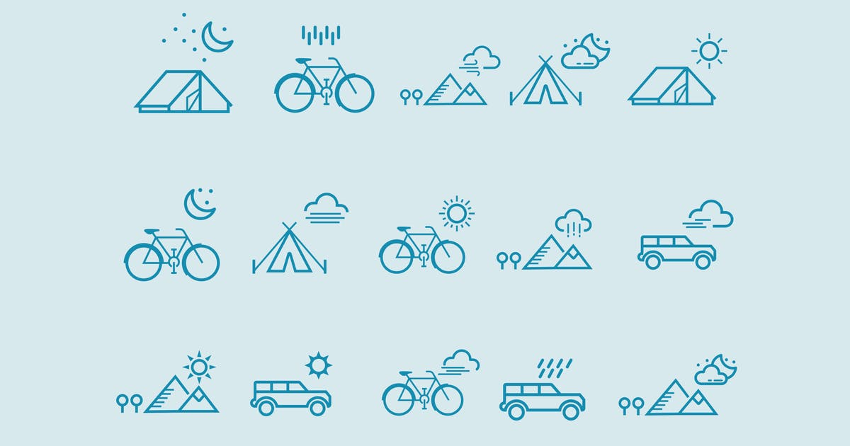 Download 15 Weather Scene Icons by creativevip