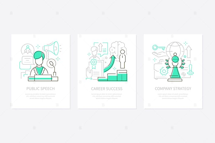 Thumbnail for Business success - line design style banners set